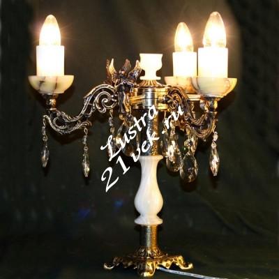 Настольная лампа Бронза 3 лампы + Оникс